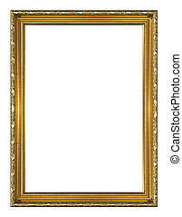 Picture Frame - Golden wood picture frame Isolated on white...