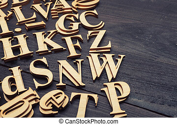 Random Wooden Letterpress Alphabet - Wooden letters on dark...