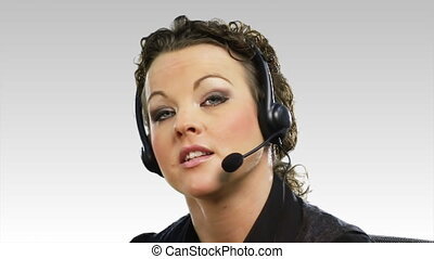 Business woman on a Helpdesk - HD footage of a Business...