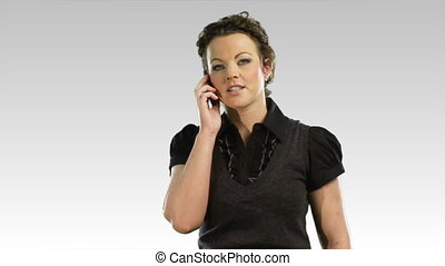 One business woman on the phone 2 - isolated business woman...