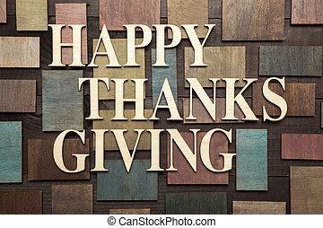 Happy thanks giving - Wooden letters forming words HAPPY...