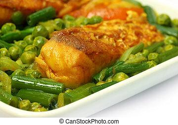 Spicy dish of rohu fish