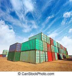Container - Stack of Cargo Containers at the docks