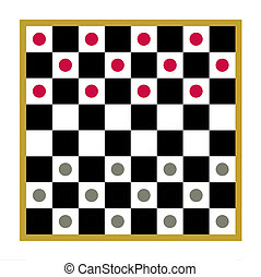 Checkers board game - Counters arranged at start of checkers...
