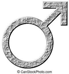 3D Stone Male Symbol