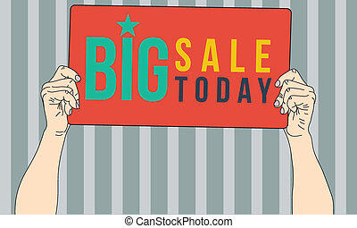 Big sale today banner on hand, vector format