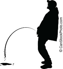 Peeing Man - A silhouette of a man peeing outdoors.