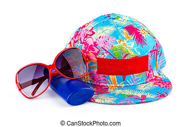 Cap sunglasses lotion isolated on white background
