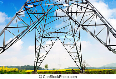 high voltage postHigh-voltage tower sky background