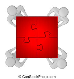 3d people with assembled red puzzle top view - 3d people...