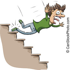 Stair Fall - A cartoon woman trips and falls down stairs