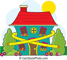 House on Diet - A cute little house with a tape measure...