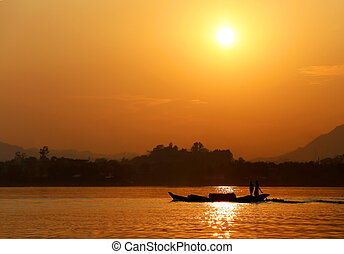 Sunset at Kaptai lake of Bangladesh - Setting sun at Kaptai...