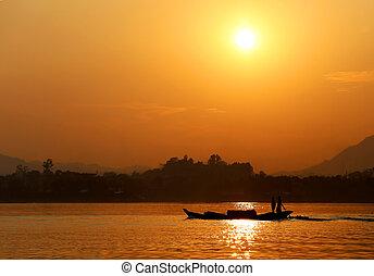Sunset at Kaptai lake of Bangladesh - Setting sun at Kaptai...
