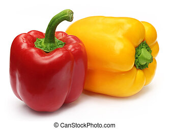 Two Capsicums over white background