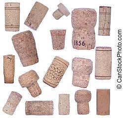 Bottle corks isolated on white background
