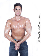 Body builder is posing to cam