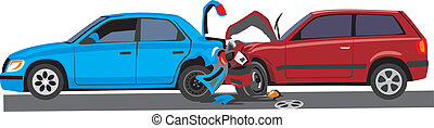 two crashed car   - two car with crashed front and trunk
