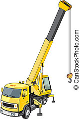 construction crane with long lifted arrow on a truck base