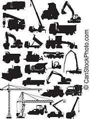 building machine silhouette - Set of silhouette building...