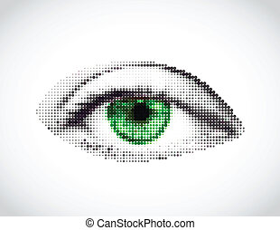 Abstract woman green eye made from dots Vector illustration