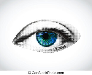 Abstract woman blue eye made from dots. Vector illustration