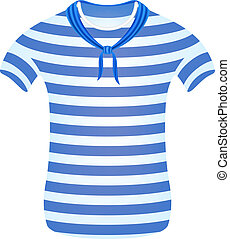 listrado, marinheiro, T-shirt, echarpe