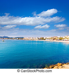 Javea Xabia skyline view from port in Alicante Spain