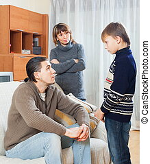 Parents berating teenager son in home