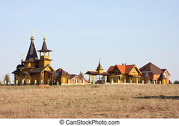 Christian orthodox temple, wooden architecture, Russia...