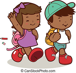 Kids walk to school - A happy African American girl and boy...