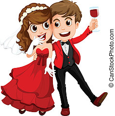 A couple who just got married - Illustration of a couple who...