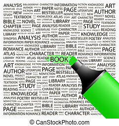 BOOK Word cloud concept illustration Wordcloud collage