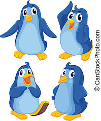 Four blue penguins - Illustration of the four blue penguins...