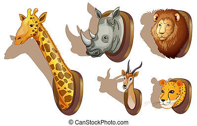 Stuffed animal heads - Illustration of the stuffed animal...