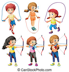 Kids with different hobbies - Illustration of the kids with...