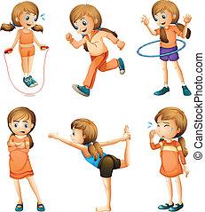 A young girl doing her daily routine - Illustration of a...