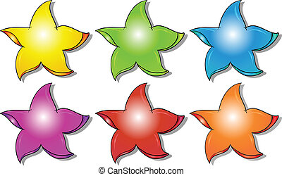 Six colorful stars - Illustration of the six colorful stars...