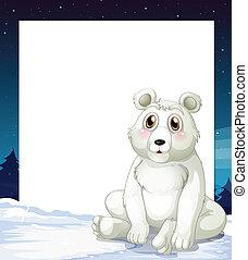 An empty template with a polar bear - Illustration of an...