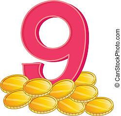 Nine gold coins