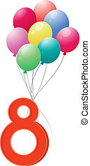 Eight colourful balloons - Illustration of the eight...