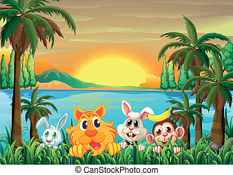 Animals at the riverbank with coconut trees - Illustration...