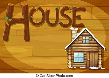 A wooden frame with a house