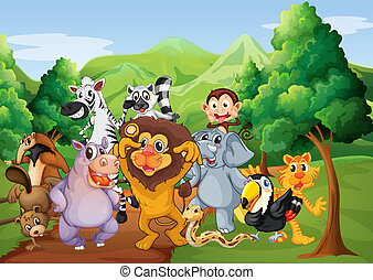 A group of animals at the jungle
