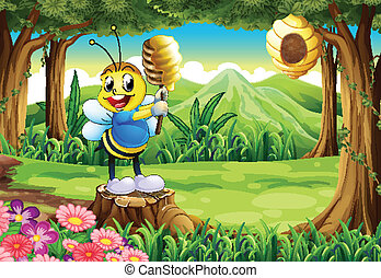 A bee above the stump at the forest - Illustration of a bee...