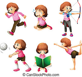 Different activities of a little lady - Illustration of the...