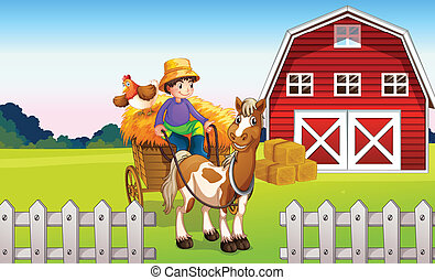 A boy at the farm - Illustration of a boy at the farm