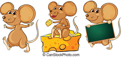 Three playful mice - Illustration of the three playful mice...