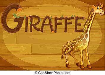 A wooden frame with a giraffe