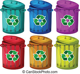 Six trashcans for recyclable garbages - Illustration of the...